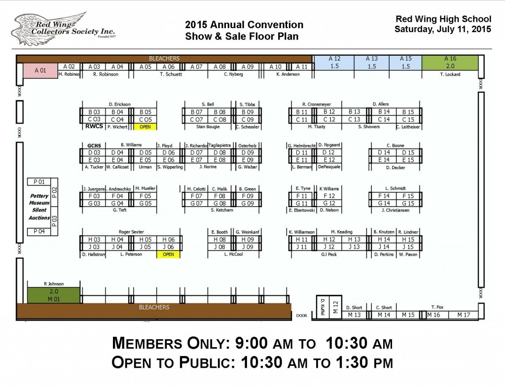 CON15 Floor Plan layout with names