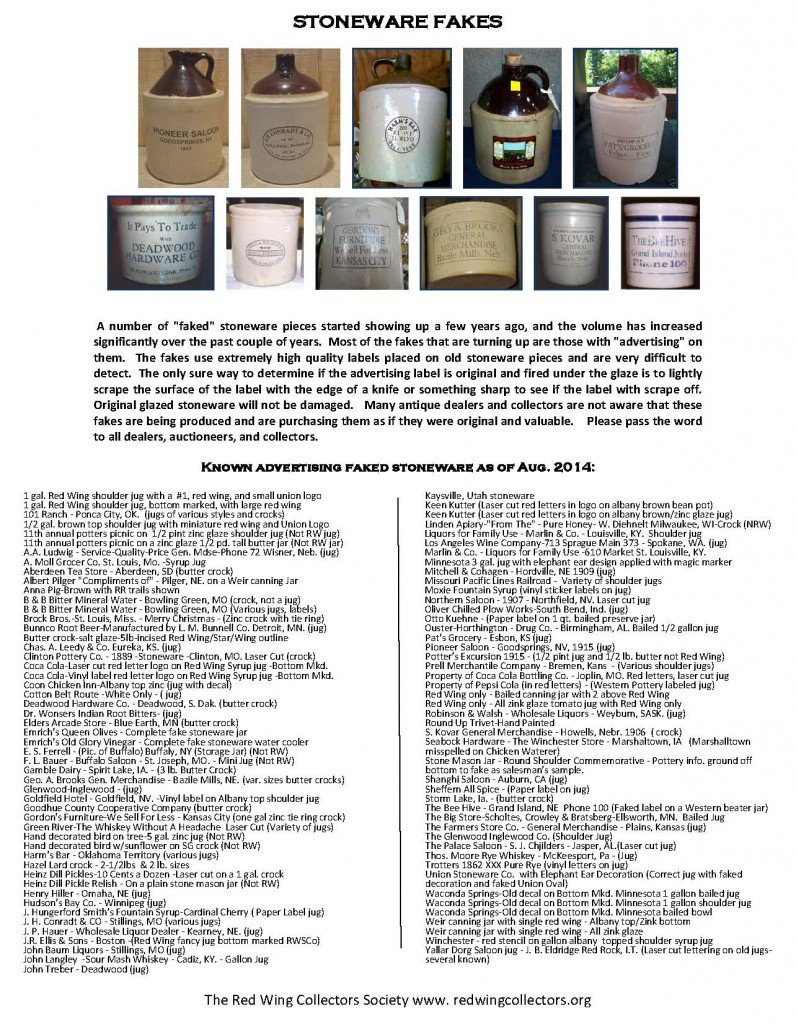 List of Stoneware Fakes  Aug 2014 Web Version